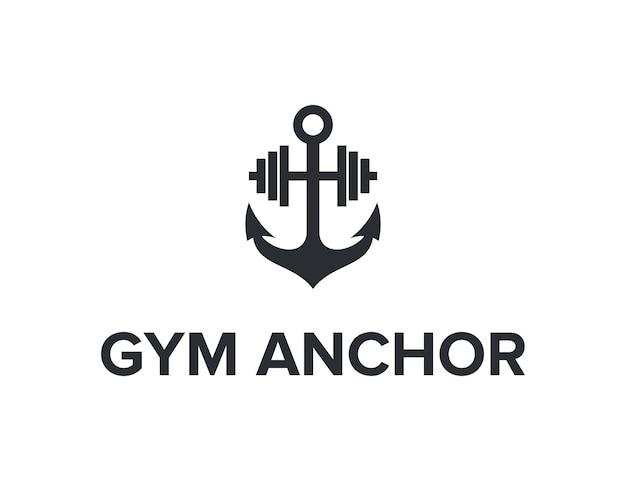 Kotwica i siłownia prosty, elegancki, kreatywny, geometryczny, nowoczesny projekt logo