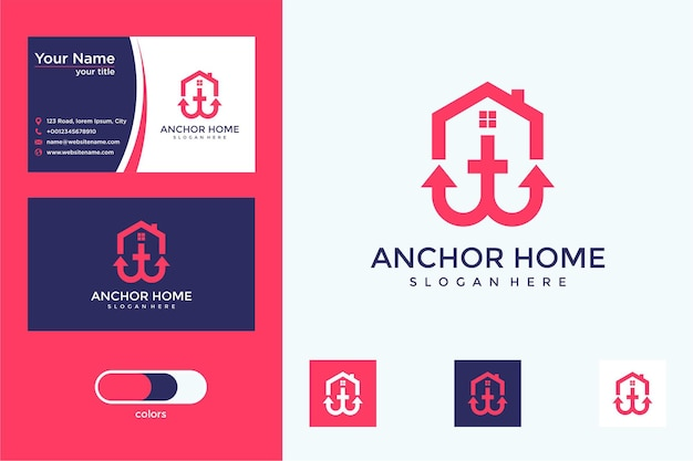 Kotwica projekt logo domu i wizytówka