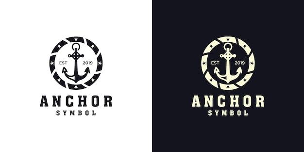 Kotwica projekt logo morskiego i okrągła lina