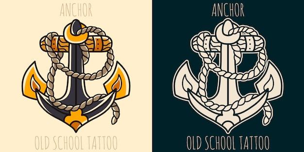 Kotwica tatuaż starej szkoły.