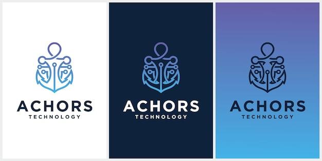 Kotwica technologia logo ikona szablon projektu, symbol firmy lub znak. wektor technologii kotwicy z logotypem wyświetlania wizytówek anchor navy ship marine template design