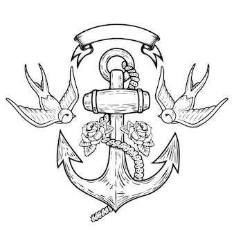 Kotwica z jaskółkami i różami. tatuaż ilustracja