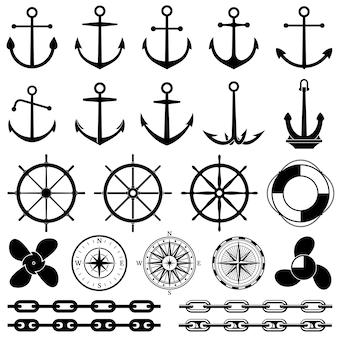 Kotwice, stery, łańcuch, liny, węzeł wektorowe ikony. elementy żeglarskie do projektowania morskiego