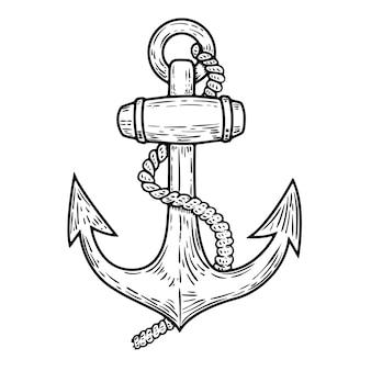 Kotwicowa ilustracja odizolowywająca na białym tle. element logo, etykiety, godła, znaku, plakatu, nadruku na koszulce. ilustracja.