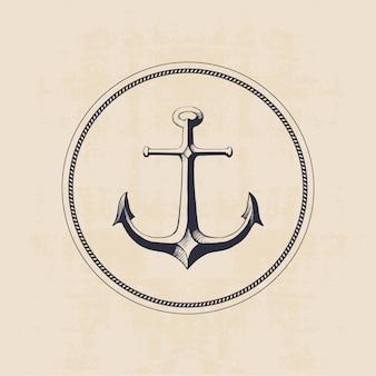 Kotwicowy logo w okręgu, ręka rysująca ilustracja