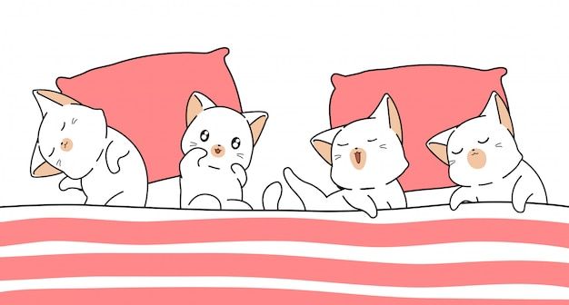 Koty banner kawaii śpią pod kocem