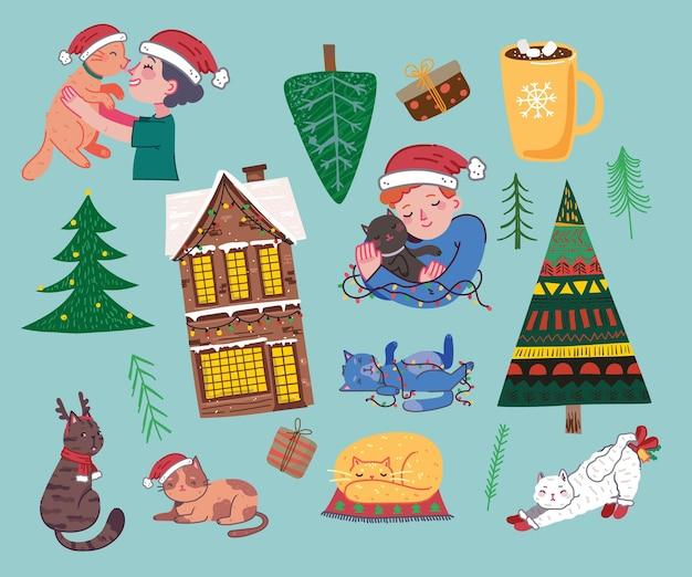 Koty bożonarodzeniowe wesołych świąt ilustracje przedstawiające chłopca i dziewczynę przytulających koty młode osoby święta...