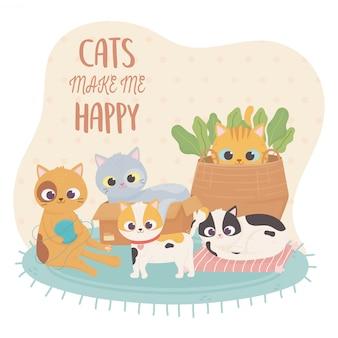 Koty domowe sprawiają, że szczęśliwa ilustracja kreskówka