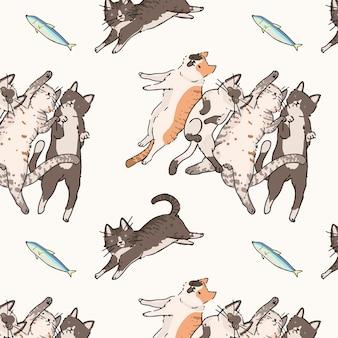 Koty doodle bezszwowe wzorzyste tło wektor
