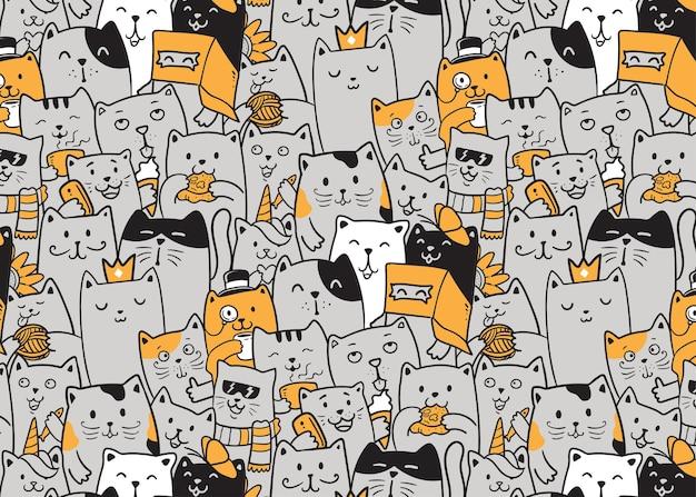 Koty doodle wzór,