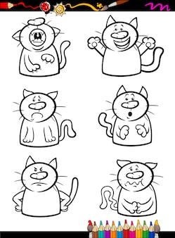 Koty emocja zestaw kreskówka kolorowanka