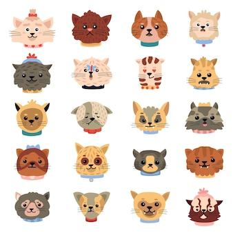 Koty emocje. śliczne śmieszne kotki twarze, głowy postaci zwierząt domowych, doodle zestaw ilustracji ikon portretów domowych kotów. twarz kotka, głowa zwierzęcia
