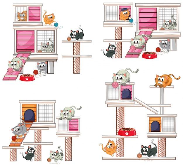 Koty i inne projekty kotów ilustracji