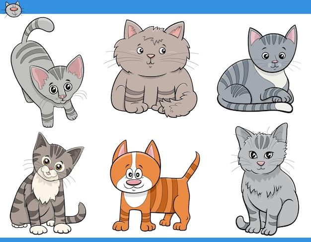 Koty i kocięta kreskówka zestaw zabawnych znaków