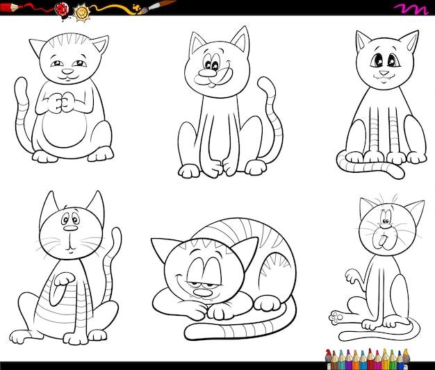 Koty i kocięta z kreskówek ustawiają stronę książki kolorów