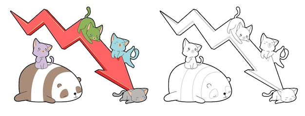 Koty i panda z kreskówkową strzałką trendu w dół