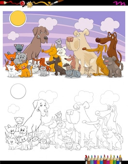 Koty i psy kolorowanki