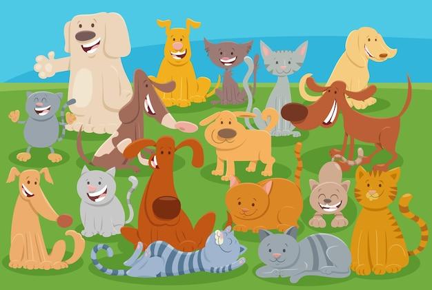 Koty i psy z kreskówek komiksowe postacie zwierząt
