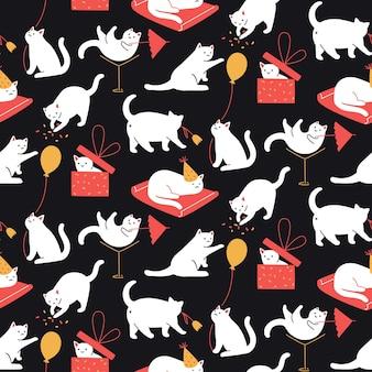 Koty Imprezowy Wzór Bezszwowe Tło Kotki Bawią Się Chowając Się W Pudełku Bawiąc Się Papier Do Pakowania Premium Wektorów