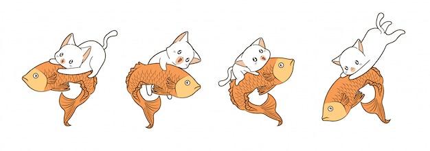 Koty jadą na dużych rybach w stylu kreskówkowym
