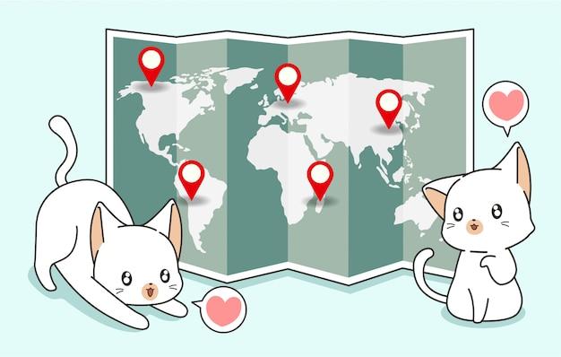 Koty kawaii i mapa świata z pinami lokalizacji