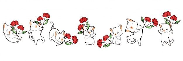 Koty kawaii trzymają kwiatki