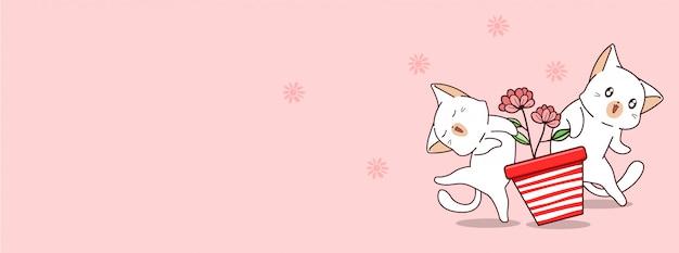 Koty kawaii uwielbiają dzień wiosny