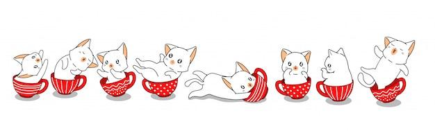 Koty kawaii w filiżankach