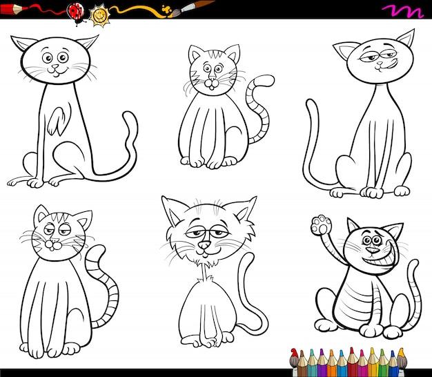 Koty kreskówka kolorowanka