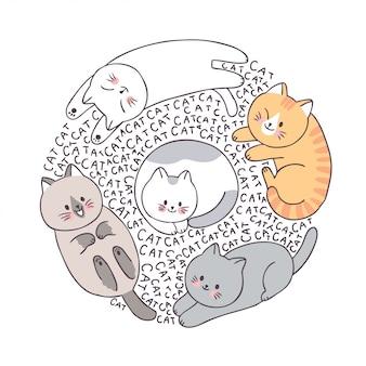 Koty kreskówka twarz, doodle koło ramki.