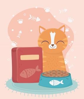 Koty mnie uszczęśliwiają, pręgowany kot z miską i pudełkiem z jedzeniem