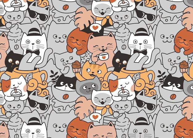 Koty relaksują się w kawiarni doodle wzór tła