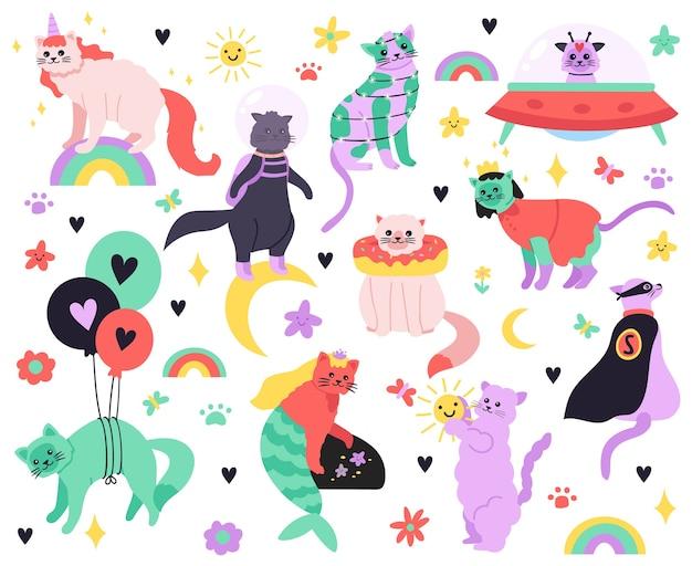 Koty śmieszne kreskówki. kitty syrenka, jednorożec, superbohater, astronauta i obce postacie, zestaw ikon ilustracji kolorowych uroczych wróżek. słodki kotek, doodle jednorożec, kot i superbohater