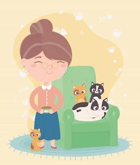 Koty sprawiają mi radość, stara kobieta z jedzeniem z miski i kotkiem w kreskówce z sofą