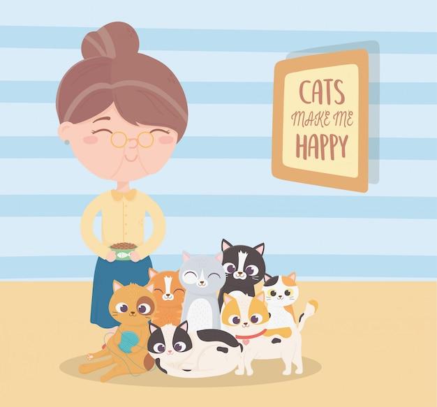 Koty sprawiają, że jestem szczęśliwa, stara kobieta z kreskówką o jedzeniu i kociętach