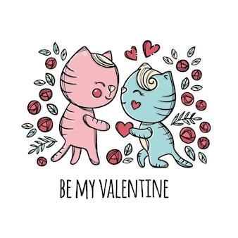 Koty walentynkowe. kotek daje swoje serce kochanie stojąc na kolanie kreskówka ręcznie rysowane
