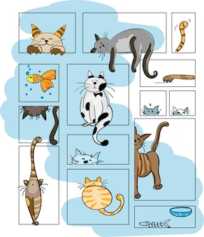 Koty wektorowe. ustaw znaki. słodki kociak