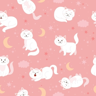 Koty wzór z księżycowymi gwiazdami i chmurami śliczna biała postać kota w stylu kreskówki