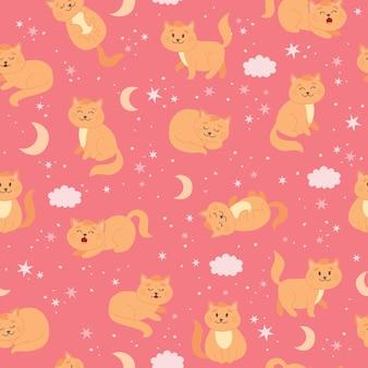 Koty wzór z księżycowymi gwiazdami i chmurami śliczny imbirowy kot w stylu kreskówki
