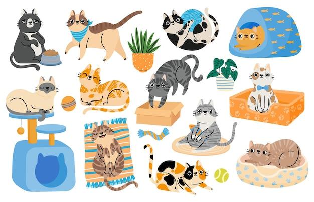 Koty z kreskówek bawiące się zabawkami, relaksujące i śpiące w łóżku. hapy znaków kotek domowych w śmiesznych pozach. śliczny pręgowany kot naklejki wektor zestaw