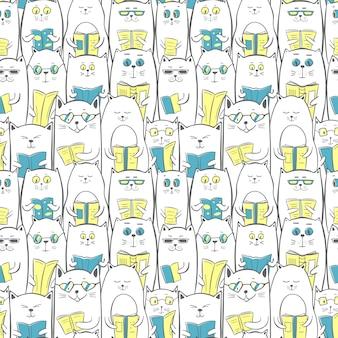 Koty z książkami, bezszwowy wzór