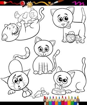 Koty zestaw kreskówka kolorowanka