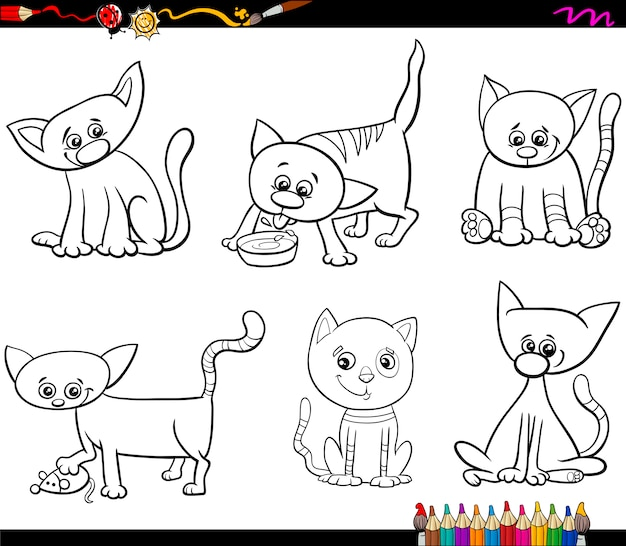 Koty zestaw kreskówka kolorowanki