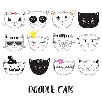 Koty, zestaw ładny kot głowy doodle.