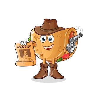 Kowboj burrito trzymający broń i ilustracja plakat poszukiwany. postać