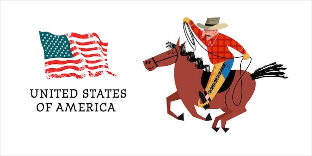 Kowboj na koniu. flaga ameryki.