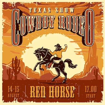 Kowboj rodeo pokaż szablon reklamy