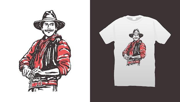 Kowboj trzymający pistolet ilustracja
