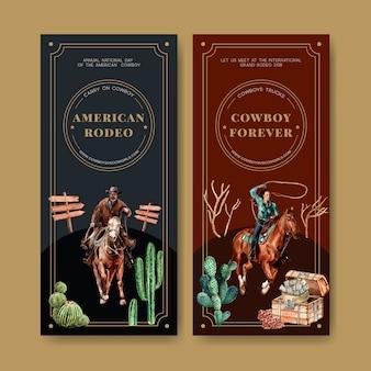 Kowboj ulotki z konia, kaktusa, klatki piersiowej, pieniędzy