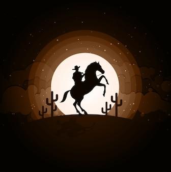 Kowboj z koniem dziki zachód księżyc nocny krajobraz